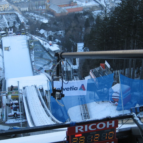 Ski jumping in Austria-Up high&freezing cold